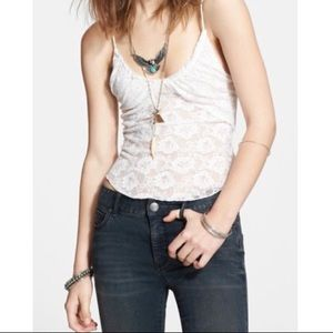 NWT Free People Ivory Lace Cami Tank